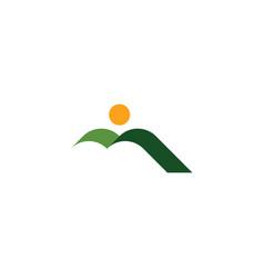 natural green mountain and sun landscape icon logo vector image