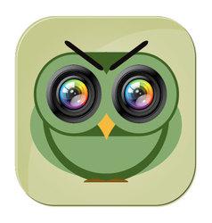 Owl camera icon photo lens vector image