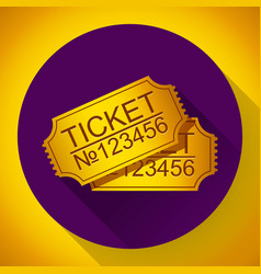 pair yellow cinema tickets on blue vector image