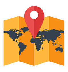 paper world map with geotag red location pointer vector image