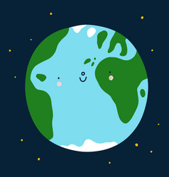 planet earth cute cartoon character vector image