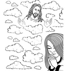 prayer girl and jesus in the sky vector image
