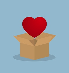 Red heart over opened box vector