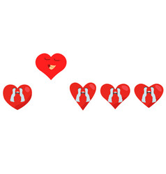 red hearts set happy air fly from group on white vector image
