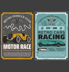 retro cars race vintage vehicles sport club vector image