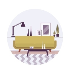 Retro interior a sofa lamp and pictures vector image