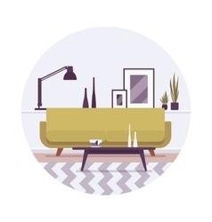 Retro interior a sofa lamp and pictures vector