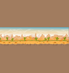 sandy and stony hot desert panorama landscape vector image