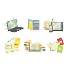 school supplies set laptop computer copybook vector image