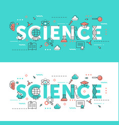 science word thin line set vector image
