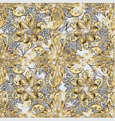 Seamless golden textured curls oriental style vector