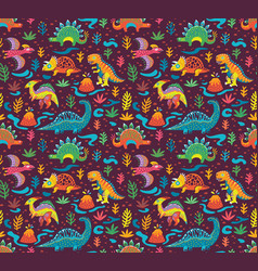 Seamless pattern with cute little cartoon vector