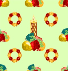 Seamless texture christmas candle with fruit vector