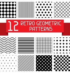 Set 12 retro geometric patterns vector