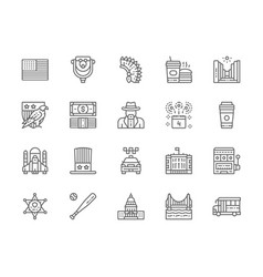 Set american culture line icons bald eagle vector