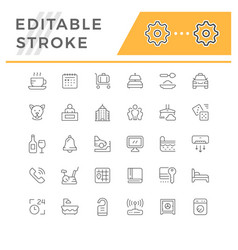 Set editable stroke line icons hotel vector