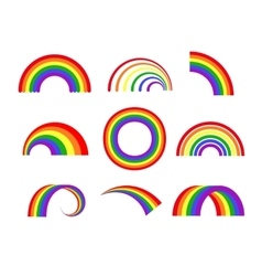 Set of rainbows white background vector image