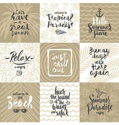 set summer holidays and vacation greeting cards vector image