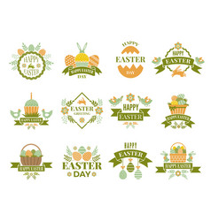 Set vintage labels and badges easter theme vector