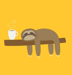 Sloth sleeping on tree branch i love coffee cup vector