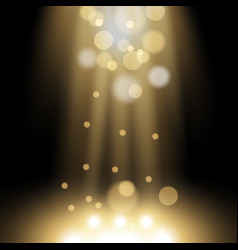 Spotlight light effect with sparks golden color vector