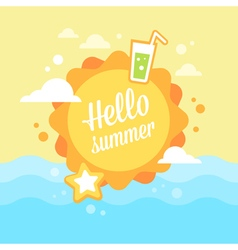 Summer sun flat card vector image