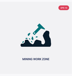 Two color mining work zone icon from maps and vector