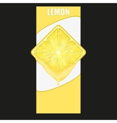 Vertical Banner of lemon square slice Space for vector image