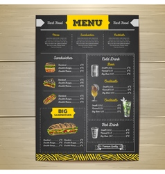 Vintage chalk drawing fast food menu design vector image