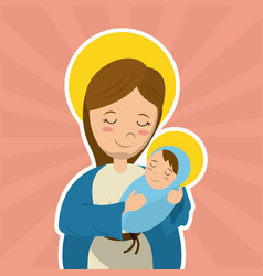 Virgin mary holding baby jesus catholicism saint vector