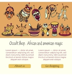 Voodoo magic web template Mystic card with place vector