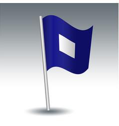 Waving maritime signal flag p papa vector