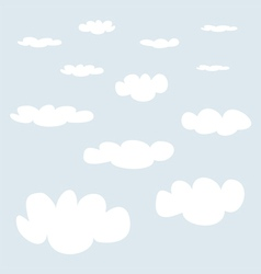 White clouds on blue sky background collection vector image