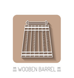 Wooden barrel flat icon silhouette on a white vector