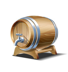 wooden barrel for wine beer or whiskey realistic vector image