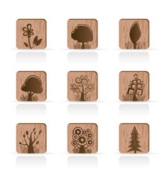wooden tree collection icons vector image