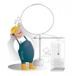 Worker with thought bubble vector