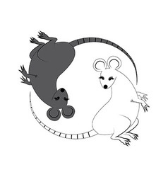 Yin Yang sign icon White and black cute funny rat vector