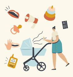 Young mother pushing pram with newborn baby vector