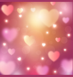 abstract romantic background with hearts and bokeh vector image