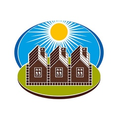 Bright of country houses and sunny landscape villa vector