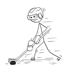 cartoon drawing of ice hockey player vector image