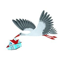 Stork brings house vector image vector image