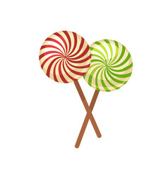 Sweet crossed lollypops on wooden sticks isolated vector