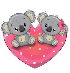 Two cute koalas on a heart vector
