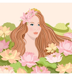 a girl and flowers vector image