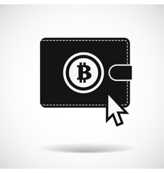 Bitcoin money purse icon with shadow on light vector image vector image