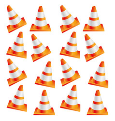 colorful realistic pattern traffic cone set vector image vector image
