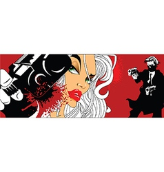 Comic book style woman with gun vector image