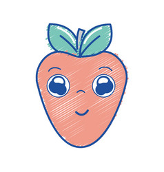 Kawaii nice happy strawberry icon vector